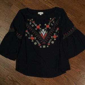 Navy blue blouse from Loft with embroidery